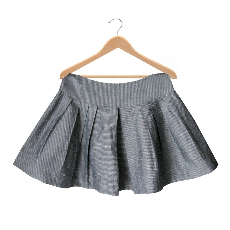 Pleated Grey Mini Skirt - 1990. $35,00, via Etsy.