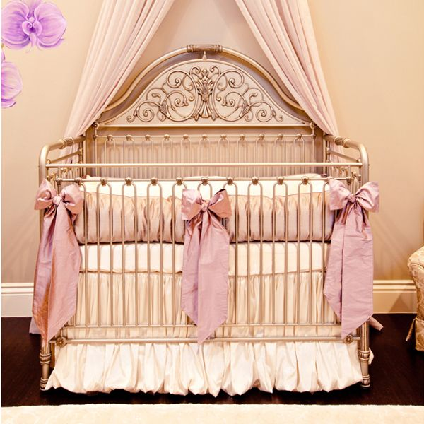 Orchid Lilac Silk Crib Bedding Set by Little Crown Interiors, Crib Bedding Sets, Bedding for Girls