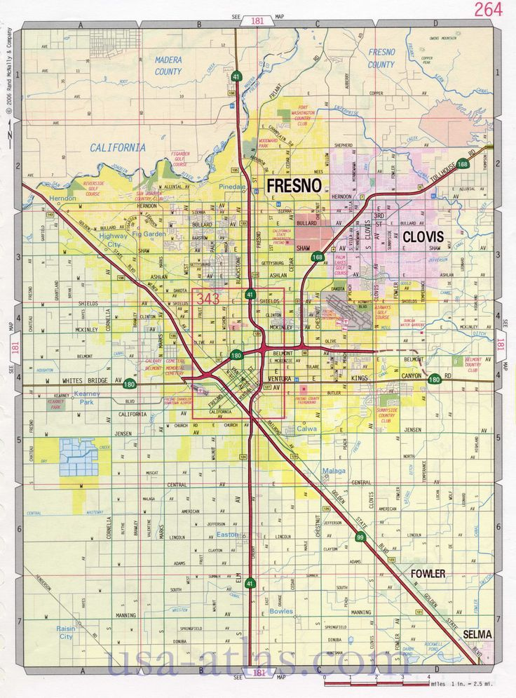 Fresno street map. Large-scale detailed streets map Fresno sity ...