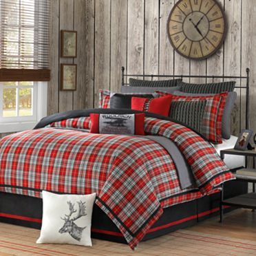 Bring the bright red plaid of this machine washable comforter set to your bedroom to set a traditional tone that pulses with life. The beautifully woven plaid design looks striking against solid color
