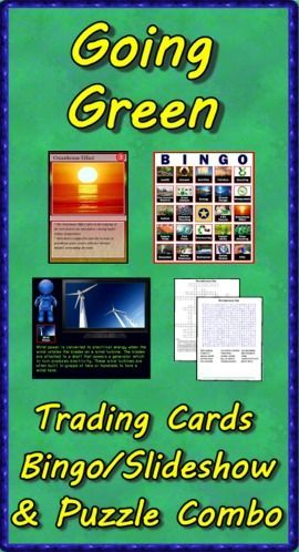 This Going Green combo pack contains the deck of 54 trading cards, the Bingo/Slideshow (PC & Mac) software with 40 bingo cards, two crossword puzzles and two word searches. Bonus features include additional games, directions for making trading cards, and instructions to make your PowerPoints talk. ($)