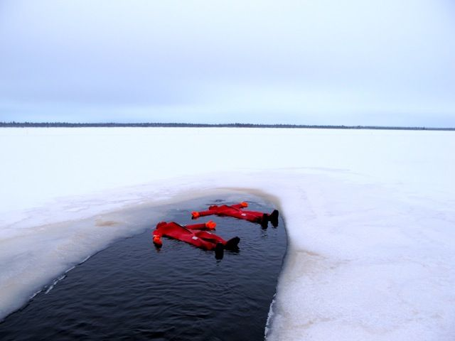 Ice-floating is one of many winter activities in Finnish Lapland.