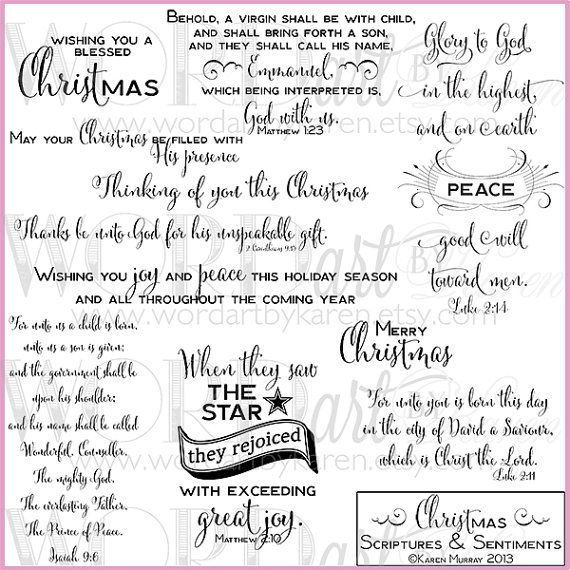 Christmas Scriptures & Card Sentiments Digital WORDart