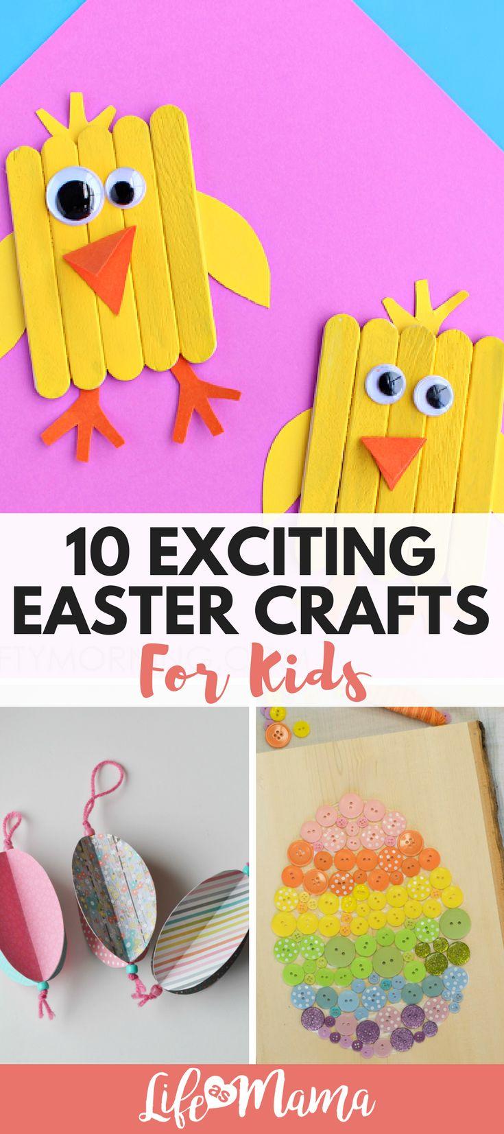 Fun Easter Crafts for kids. #easter #eastercrafts #bunnycrafts #eastereggs #eastereggcrafts #activitiesforkids #springcrafts