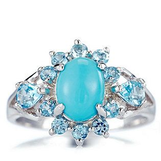 Sleeping Beauty Turquoise Swiss Blue Topaz Ring Sterling Silver