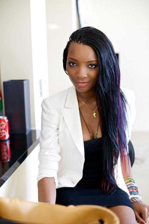 Black, blue, purple pick and drop braids.