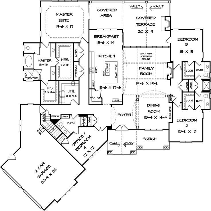 like bathroom when you come in backdoor, his and hers closets First Floor Plan of Craftsman House Plan 58253