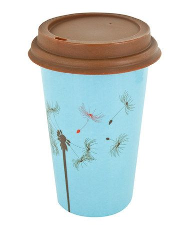Take a look at this Light Blue & Brown Dandelion 12-Oz. Ceramic Eco Cup by Smart Planet on #zulily today!