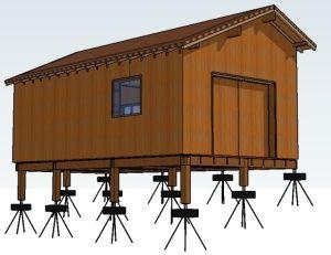Plots pneus/béton pour les fondations de l'atelier - maison bois/terre/paille