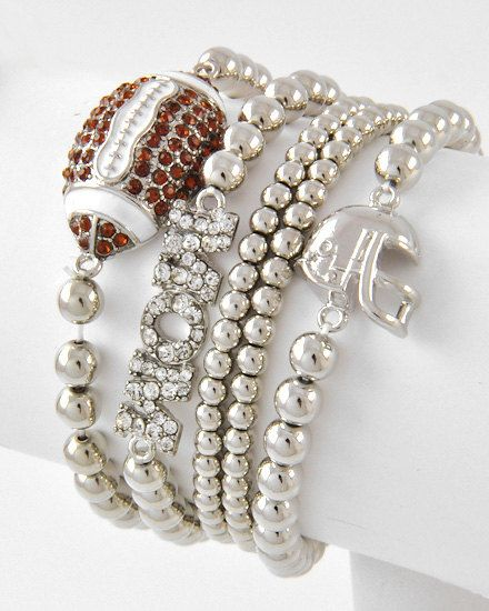 Beautiful Crystal Football Mom and Helmet Stretch Bracelet via Etsy. My mom would cry some serious tears of happiness if I got this for her.