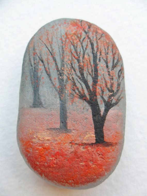 Misty autumn forest - original acrylic miniature painting on pretty frosted English sea glass.