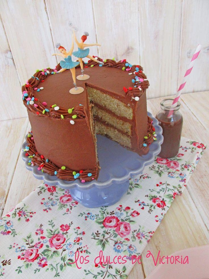 Los Dulces de Victoria: Tarta de crema de Nutella & Bizcocho esponjoso de platano