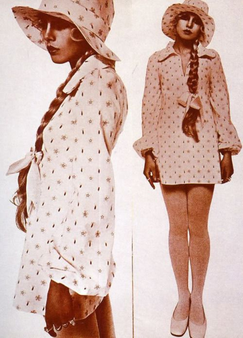 Model Elizabeth Bjorn Neilson poses for the Biba catalogue c. 1968-69.