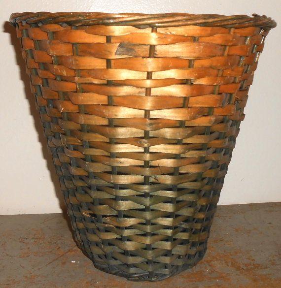Vintage Waste Basket Wicker Trash Bin Waste Paper by TheBackShak