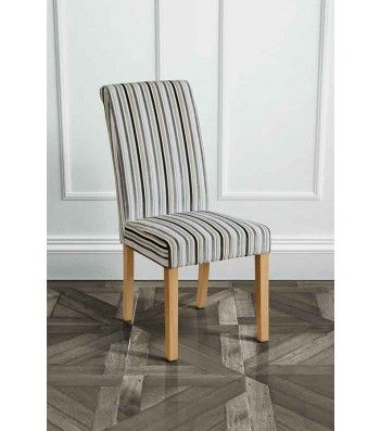 Genoa Jupiter Silver Upholstered Scroll Back Dining Chair