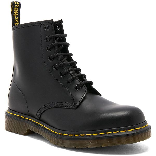 Dr. Martens 1460 8 Eye Leather Boots ($125) ❤ liked on Polyvore featuring men's fashion, men's shoes, men's boots, shoes, mens lace up boots, dr martens mens shoes, mens leather boots, mens lace up shoes and mens leather shoes