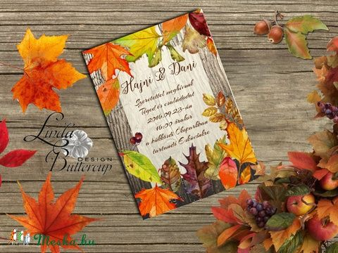 Őszi Esküvői meghívó, Rusztikus Esküvő, Vintage Esküvő, Bohém Esküvői képeslap…