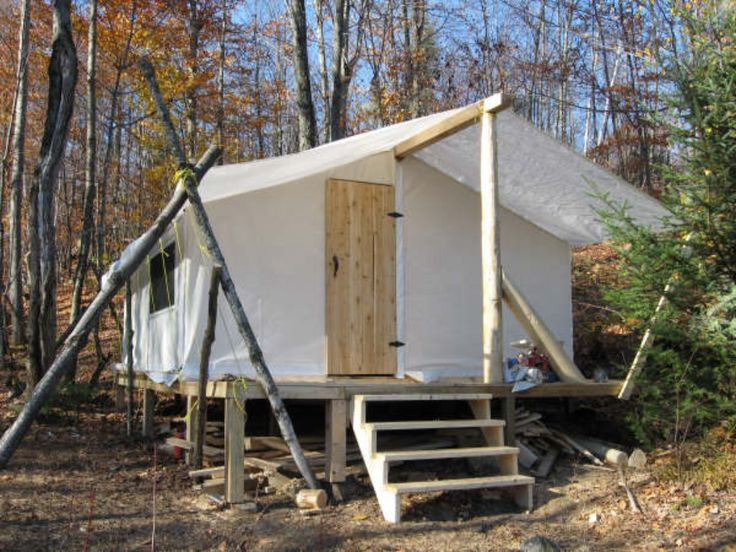 Great canopy for back yard prospector 39 s tent studio for Permanent tent cabins