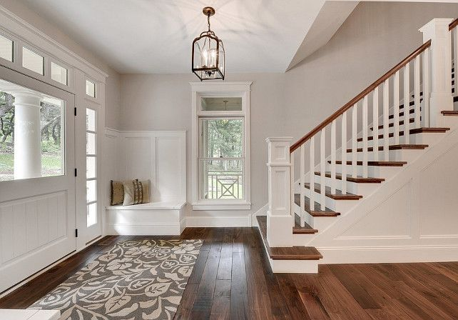 I wanted you to see this with Edgecomb Grey because you can see how it makes this entrance bright and works really well with the warm hardwood flooring