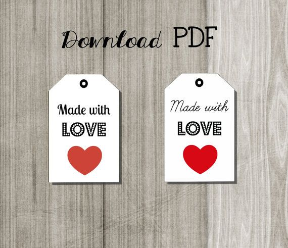 Printable digital tag made with love/ etichette di Lovelyprintable
