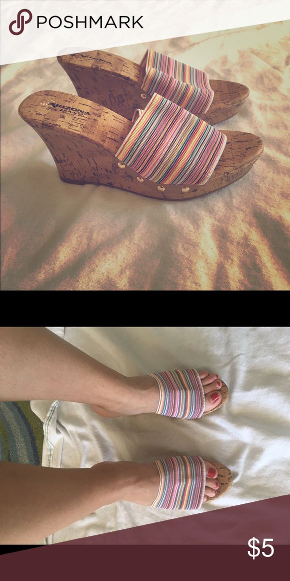 Rainbow stripe wedge sandals (never worn!) Arizona Jean Co. rainbow stripe wedges, stickers still on the bottoms! The base of these shoes is cork and the top is a stretchy canvas material. Perfect with jeans or a summer dress! Arizona Jean Company Shoes Wedges