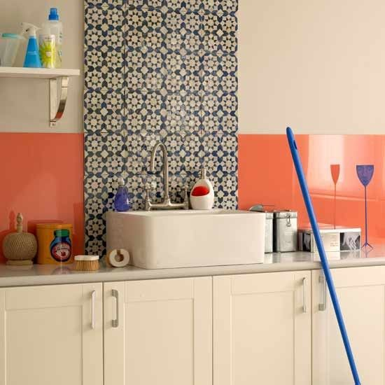Retro laundry room An extending column of decorative ethnic tiles, like these Moroccan mosaics, exaggerates this laundry room's proportions, and gives the scheme extra height. Mosaic tiles Dar Interiors Splashback Preedy Glass Paint Farrow & Ball
