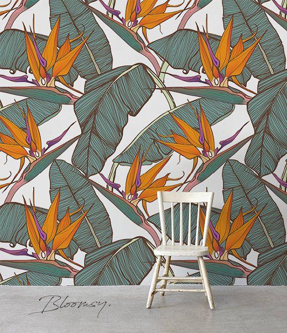 Removable Wallpaper Paradise Flowers Wallpaper Floral Etsy Tropical Wallpaper Wallpaper Floral Wallpaper