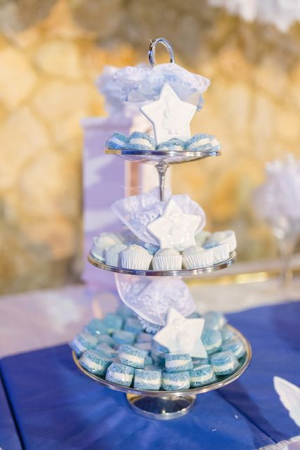 Lovely treats at a boy baptism party!   See more party ideas at CatchMyParty.com!  #partyideas #baptism