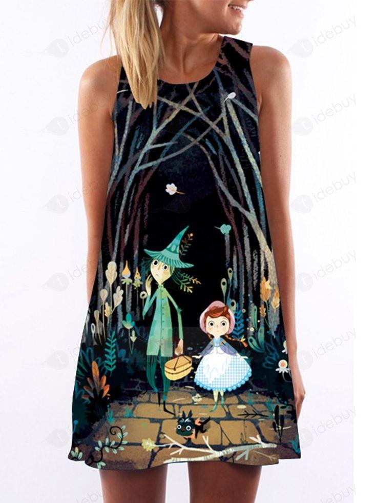 Tidebuy.com bietet hohe QualitätMärchen Bild A-Line Freizeit Kurzes KleidWir haben mehr Arten fürTageskleider