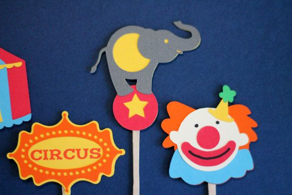 Circus Theme Cupcake Toppers Set of 12 by ThePaperWonderland