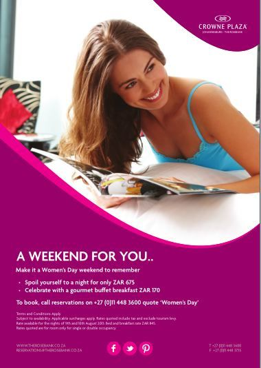 Enjoy the upcoming #WomensDay #publicholiday with us for ZAR 675