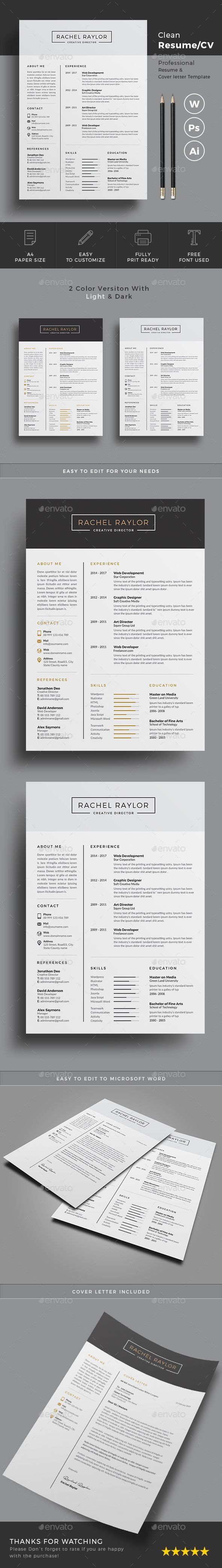Buy Resume by on GraphicRiver Clean Resumecv
