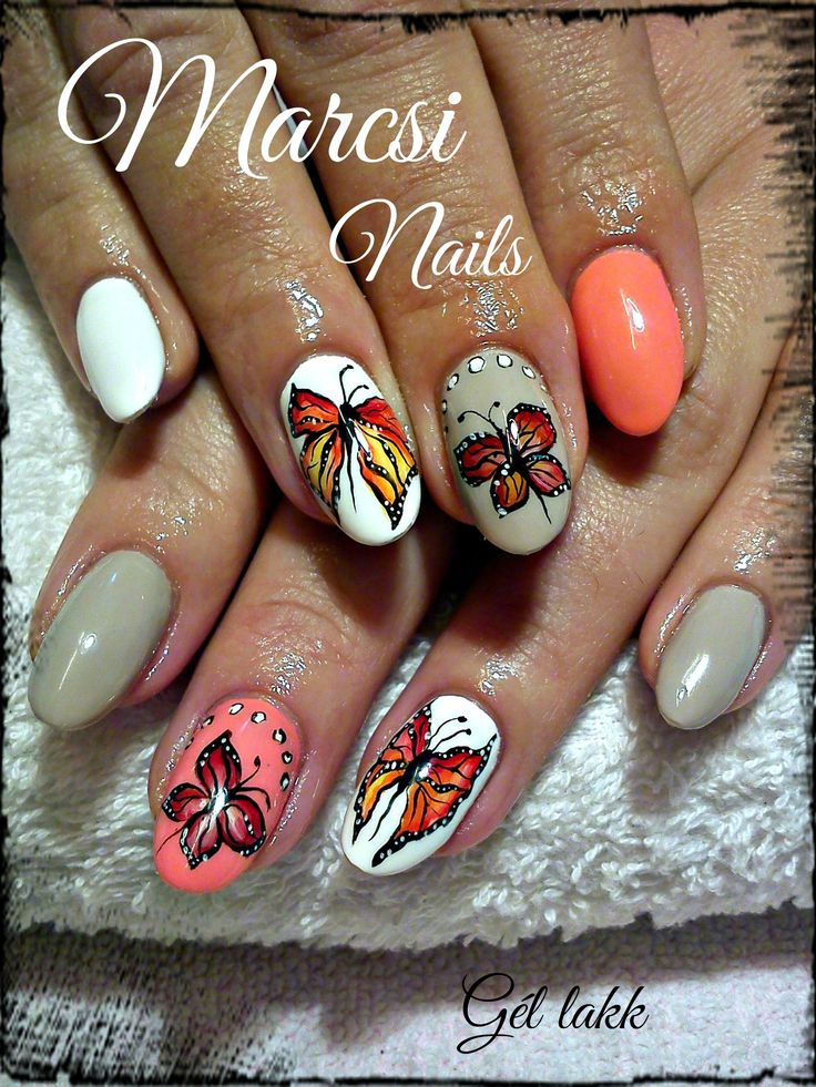 Colorful butterfly nail art