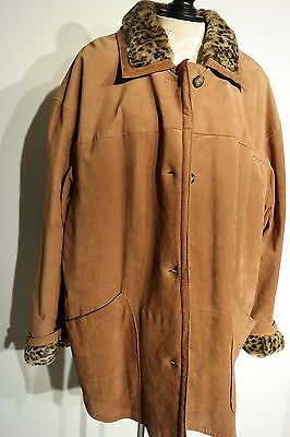 J PERCY MARVIN RICHARDS WOMEN'S PLUS BROWN SUEDE FUR LINED COAT/JACKET SIZE 2X