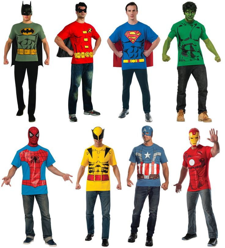 Mens Superhero Costume T-Shirt & Cape Batman Robin Superman Hulk Captain America #DCComics #GraphicTee