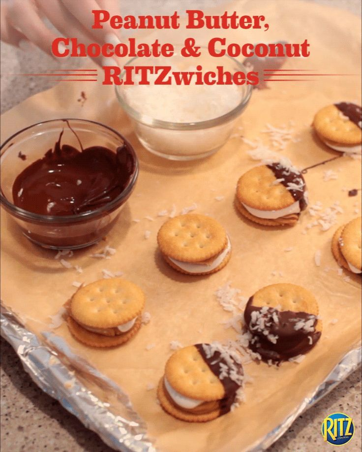 Remember when your mom made you peanut butter and marshmallow sandwiches after school? Take that classic snack one step further with these Peanut Butter, Chocolate, and Coconut RITZwiches! Just sandwich peanut butter and marshmallow crème between two RITZ crackers. Dip them halfway into melted chocolate then sprinkle coconut flakes. The kids will have no complaints about these sweet treats! Life's Rich.
