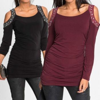 Sexy stylische Tops T-Shirt mit dekorativen Strass an Cold-Shoulder