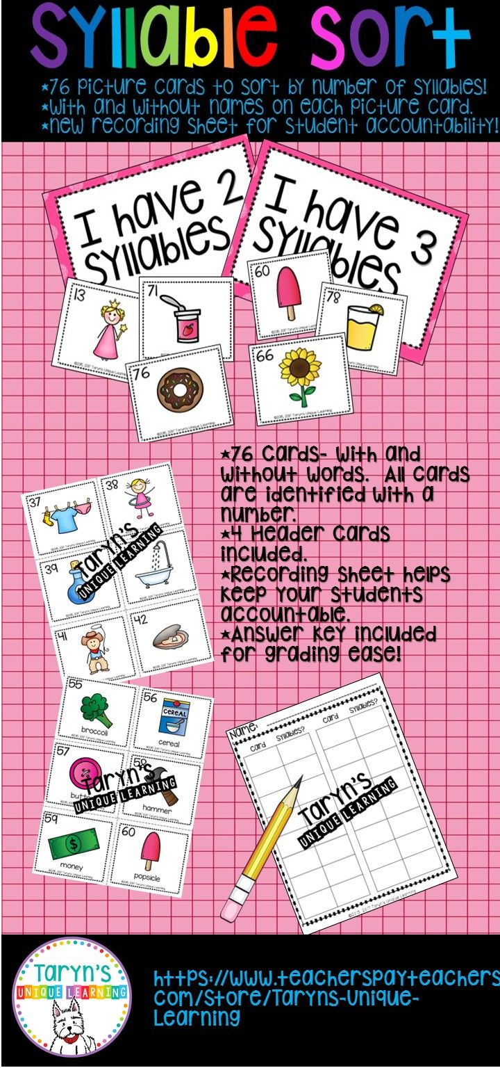 76 picture cards are ready for sorting by the number of syllables.  All cards come in 2 versions, with and without words.  Sorting header cards included, as well as a student recording sheet and answer key for the teacher.  Perfect for centers, small group, Daily 5, and more.