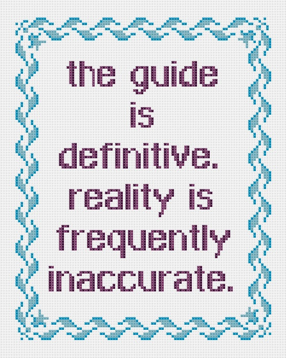 Hitchhiker's Guide to the Galaxy cross stitch sampler PDF pattern. £2.30, via Etsy.