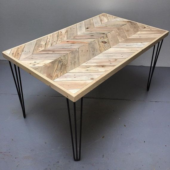 Reclaimed Pallet Wood Double Chevron Design dining Table with 3-Bar Hairpin Legs.  Approximate dimensions; Length 130cm Width 80cm Height 74cm  Sanded