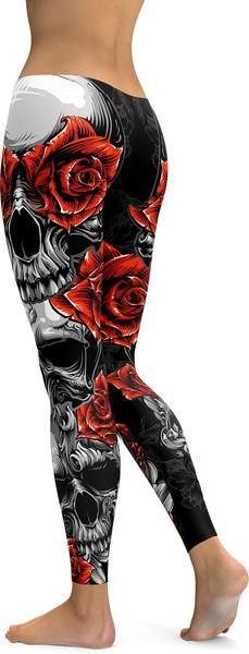 Straight from our Skull collection! We've created some brand new Skulls & Roses leggings. 3 beautifully designed Skulls together with some deep red roses makes this and absolute wardrobe must have! Ou