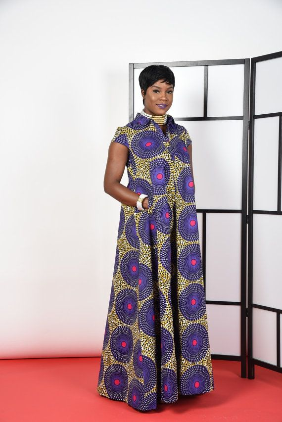 African print Kaftan Maxi Full A-line silluete stand up collar 2 side pockets 100% cotton Can be dressed up or down. Great look model Is 5.7 tall ************Ready to ship********** Please also select the closest size to your measurement . Dry clean only by Rahyma