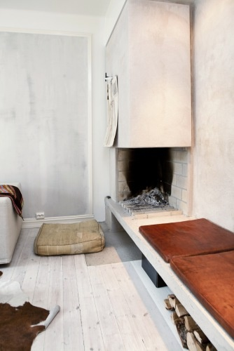 ° lovely mix of materials: concrete, wood & leather //  Bo-Bedre.no °