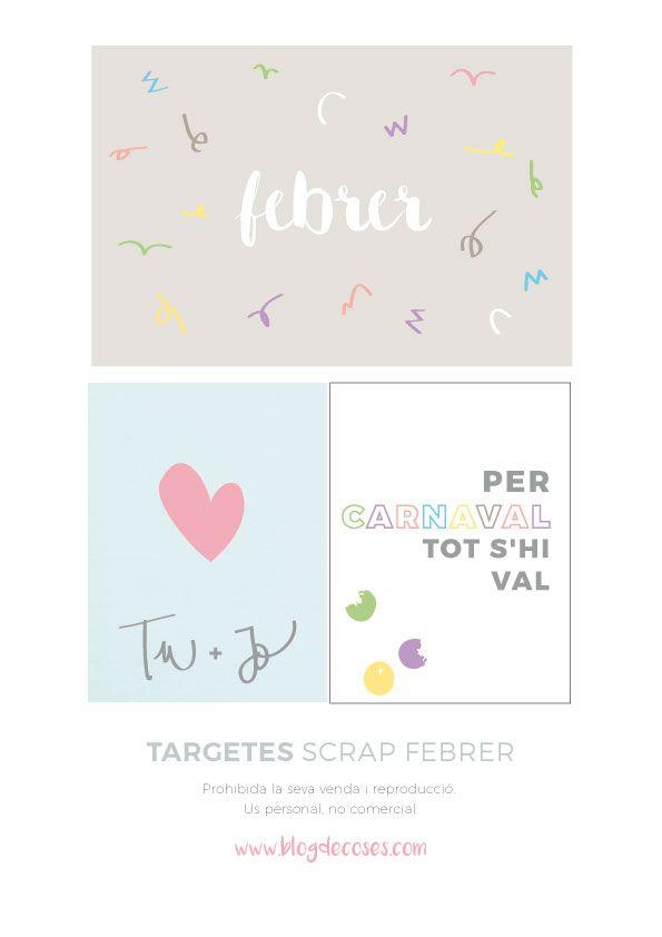 Blog de Coses: TARGETES SCRAP DE FEBRER