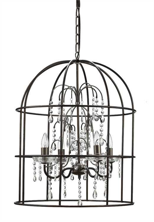 Metal Birdcage Chandelier with crystals