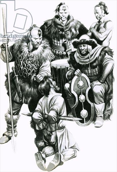 Attila the Hun torturing a captive.- CHAMPS CATALAUNIQUES- 1) INTRO-1.2 LES HUNS EN GAULE EN 451, 6: ATTILA fait le siège de Metz, qu'il rase complétement et dont il fait massacrer la population entière puis se dirige jusqu'à Orléans. Attila sait qu'il ne va rencontrer que peu de résistance significative jusqu'à ce qu'il atteigne AURELIANUM (l'actuelle Orléans).