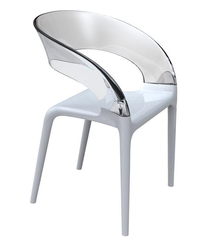 Driade, RING CHAIR , Philippe Starck with Eugeni Quitllet, 2009 Armchair with structure in polipropylene in white olour and trasparent colourless polycarbonate back. Suitable for Indoor and outdoor use. Dimension: cm W. 55 D. 53 H. 83; seat H. 47.
