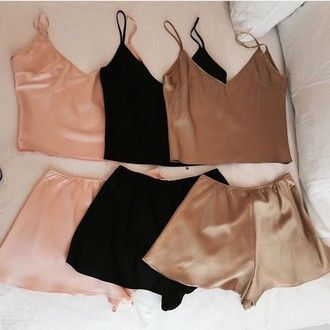 tank top gold shorts shorts set two-piece silk matching set pajamas satin lingerie set nude black lingerie underwear beige pink sexy brown gold top bottoms girly cute silk pajamas peach sexy lingerie