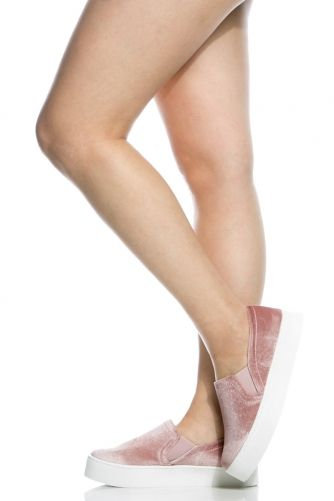 Mauve Velvet Flatform Slip On Sneakers @ Cicihot Women Sneakers-Fashion Sneakers,Casual Sneakers,Wedge Sneakers,Platform Sneakers,Hidden Wedge Sneakers,High Top Sneakers,Lace Up Sneakers,Studded Sneakers,Buckle Sneakers