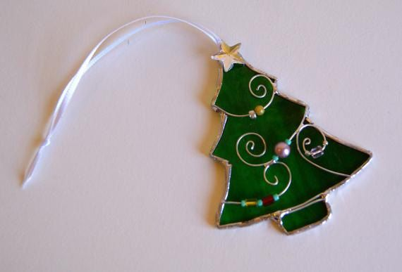 Stained Glass Christmas Tree Christmas Ornament Stained Glass Unique on Etsy, $16.00